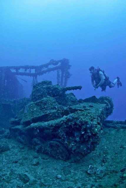 In Truk Lagoon, Micronesia lies the remains of a Japanese fleet. You can dive to tanks, ships, torpedoes, planes and bombs.