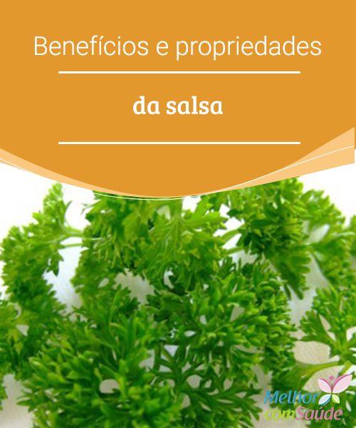 Benefícios e propriedades da salsa  A salsa é uma planta aromática cujas propriedades podem nos trazer muitos benefícios. Entre eles o de purificar os órgãos vitais, tratar e.