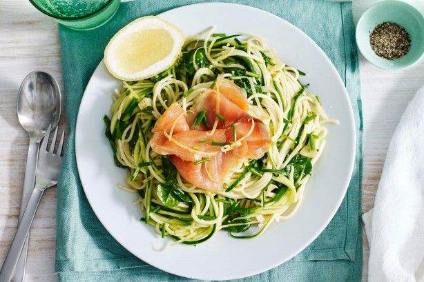Twirl your fork around this gourmet pasta with smoked salmon, zucchini and chives. Recipe by Courtney Roulston, MasterChef Australia Series 2 contestant.