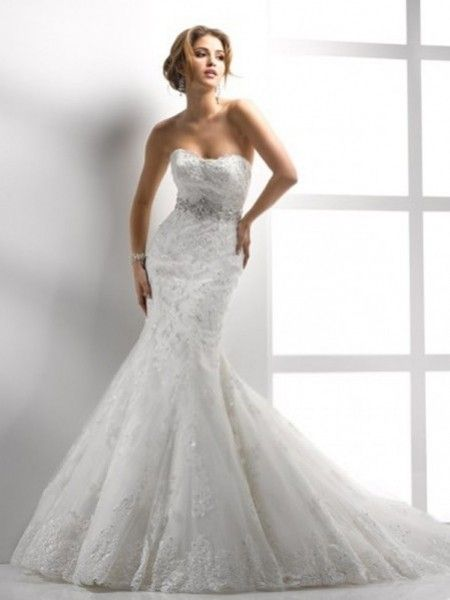 Trumpet/Mermaid Sweetheart Beading Sleeveless Court Trains Lace Wedding Dresses For Brides