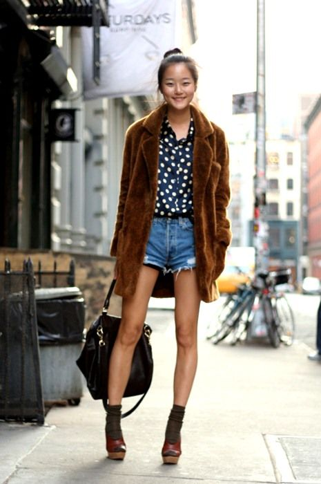 polka dot blouse, faux fur coat, and cut-offs make for a great casual chic look.: Faux Fur, Street Fashion, Sock, Short, Fur Coats, Polka Dots, Inspiration, Street Style