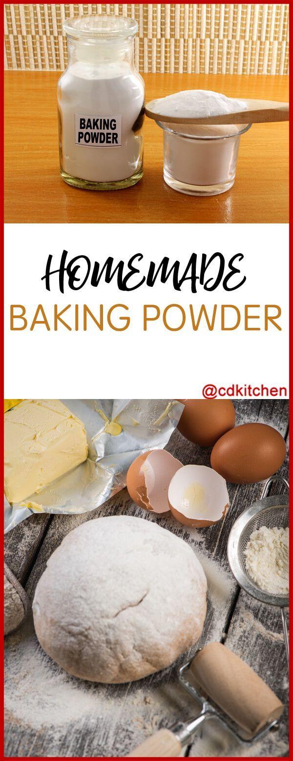 Homemade Baking Powder - Recipe is made with baking soda, cream of tartar, cornstarch | CDKitchen.com