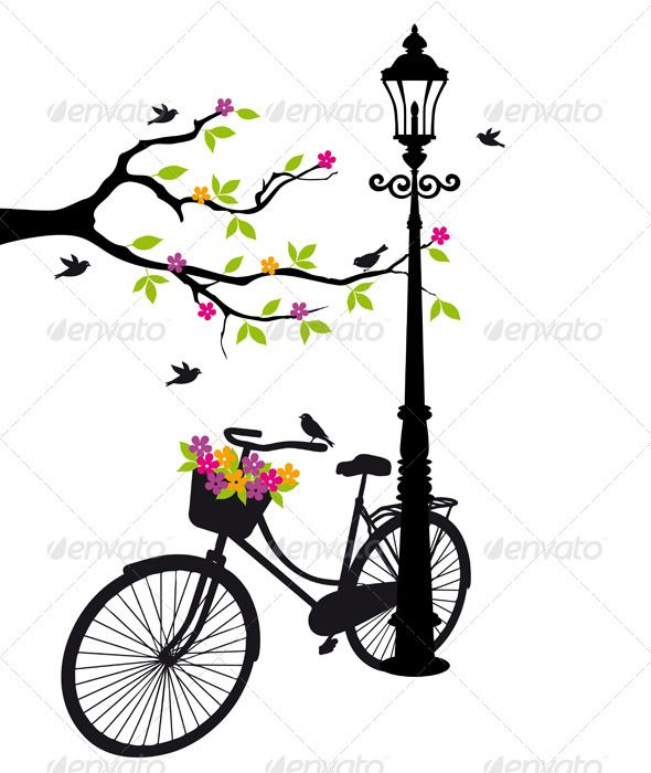 Flower Baskets Vector : Graphicriver bicycle with flowers and tree vector