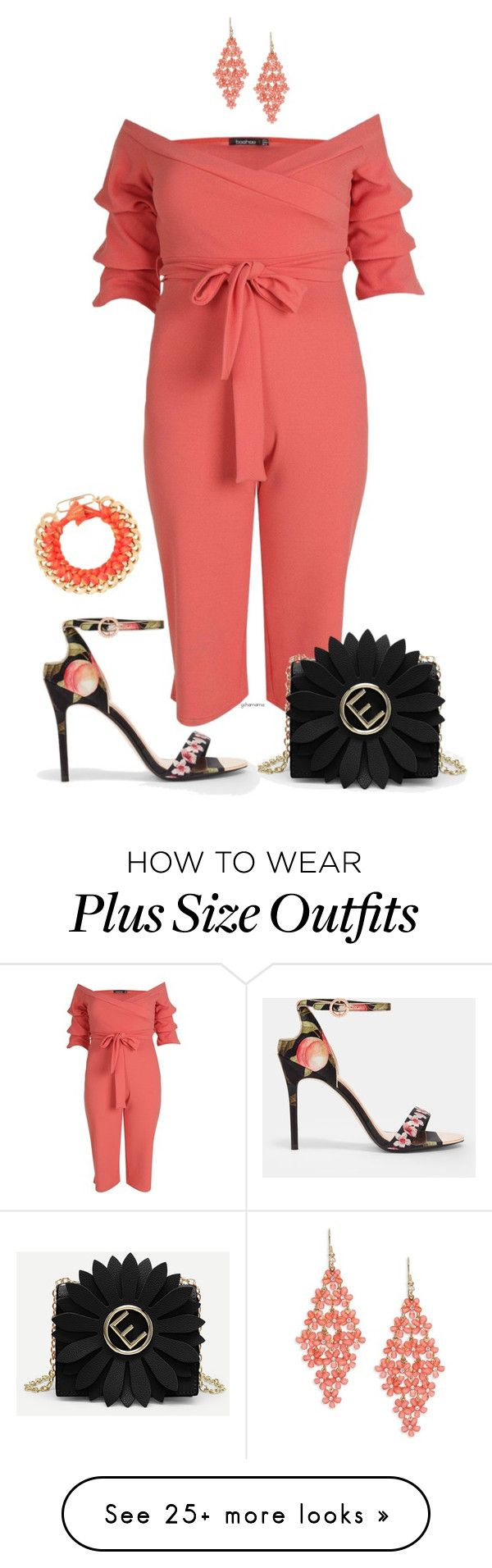 """""""Peach blossom- plus size"""" by gchamama on Polyvore featuring Ted Baker, Design Lab and Aurélie Bidermann"""