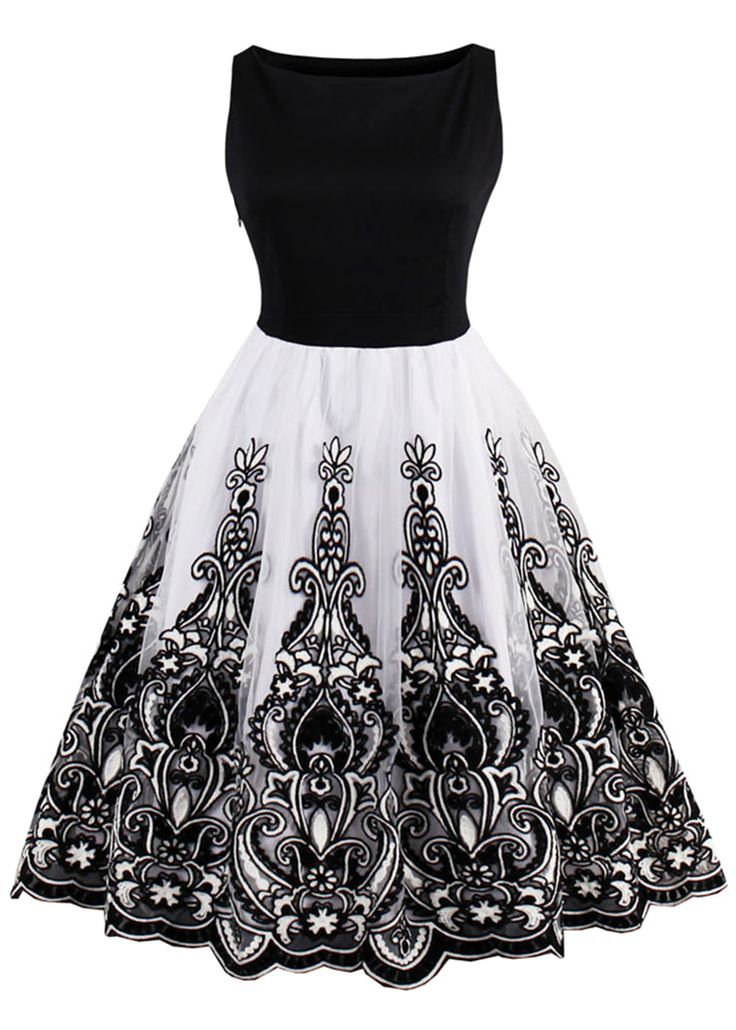 $22.54 Vintage Embroidered Flare Dress - Black - Sale! Up to 75% OFF! Shop at Stylizio for women's and men's designer handbags, luxury sunglasses, watches, jewelry, purses, wallets, clothes, underwear