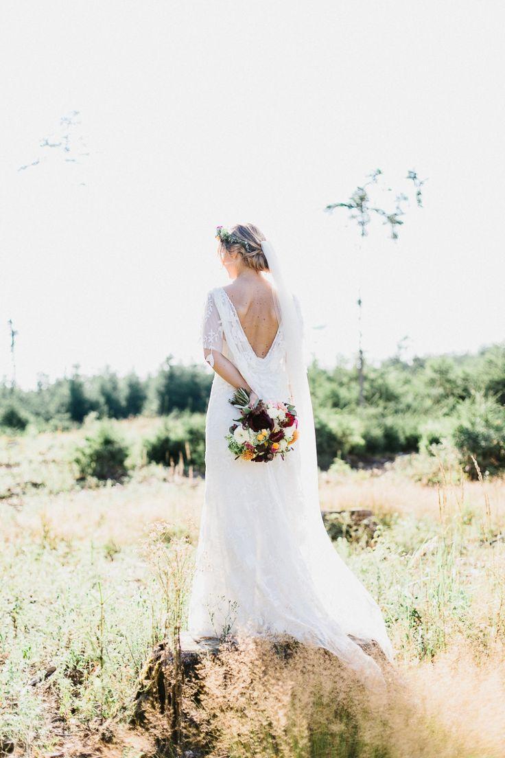 Rustic Bohemian Wedding | Martina + Jean Francois  Rue de Seine - Poppy Gown