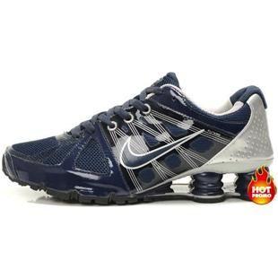 http://www.asneakers4u.com Mens Nike Shox Agent Navy Blue Silver
