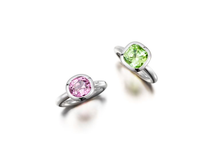 Pink Spinel and Green Peridot
