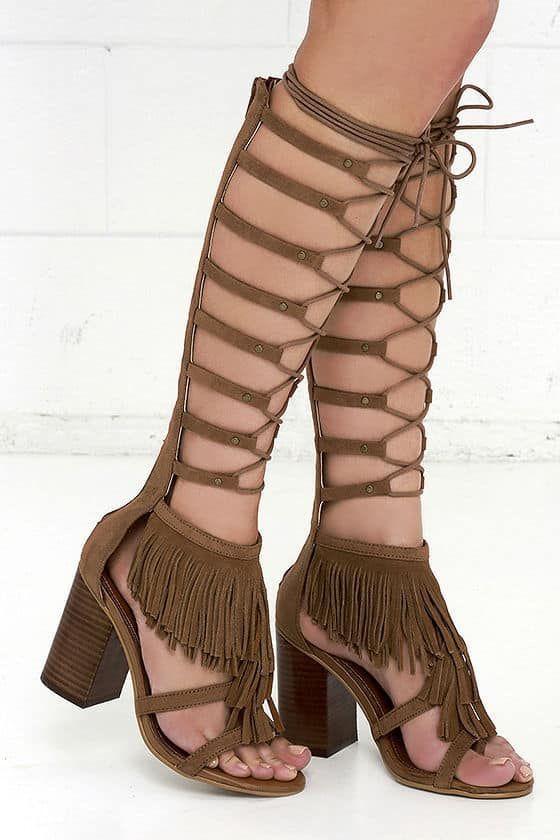 73c6a1a3dd4 MIA Ricarda Tan Knee High Lace Up Gladiator Sandals Tall Fringe Block Heel  Brown