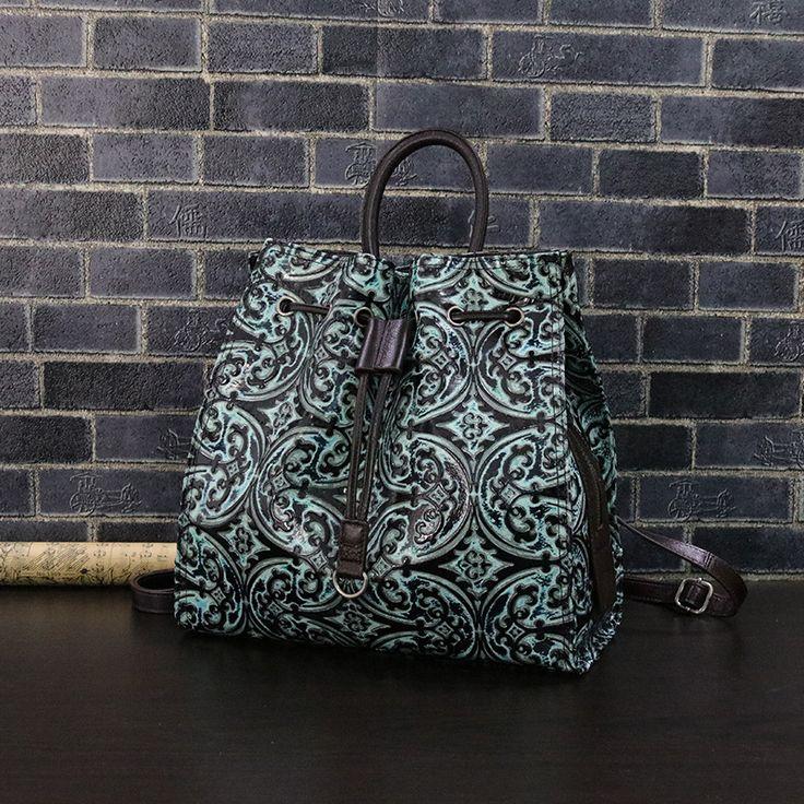 2017 national style Classic flower embossing women backpack genuine leather lady's knapsack Cowhide vintage multifunction bag