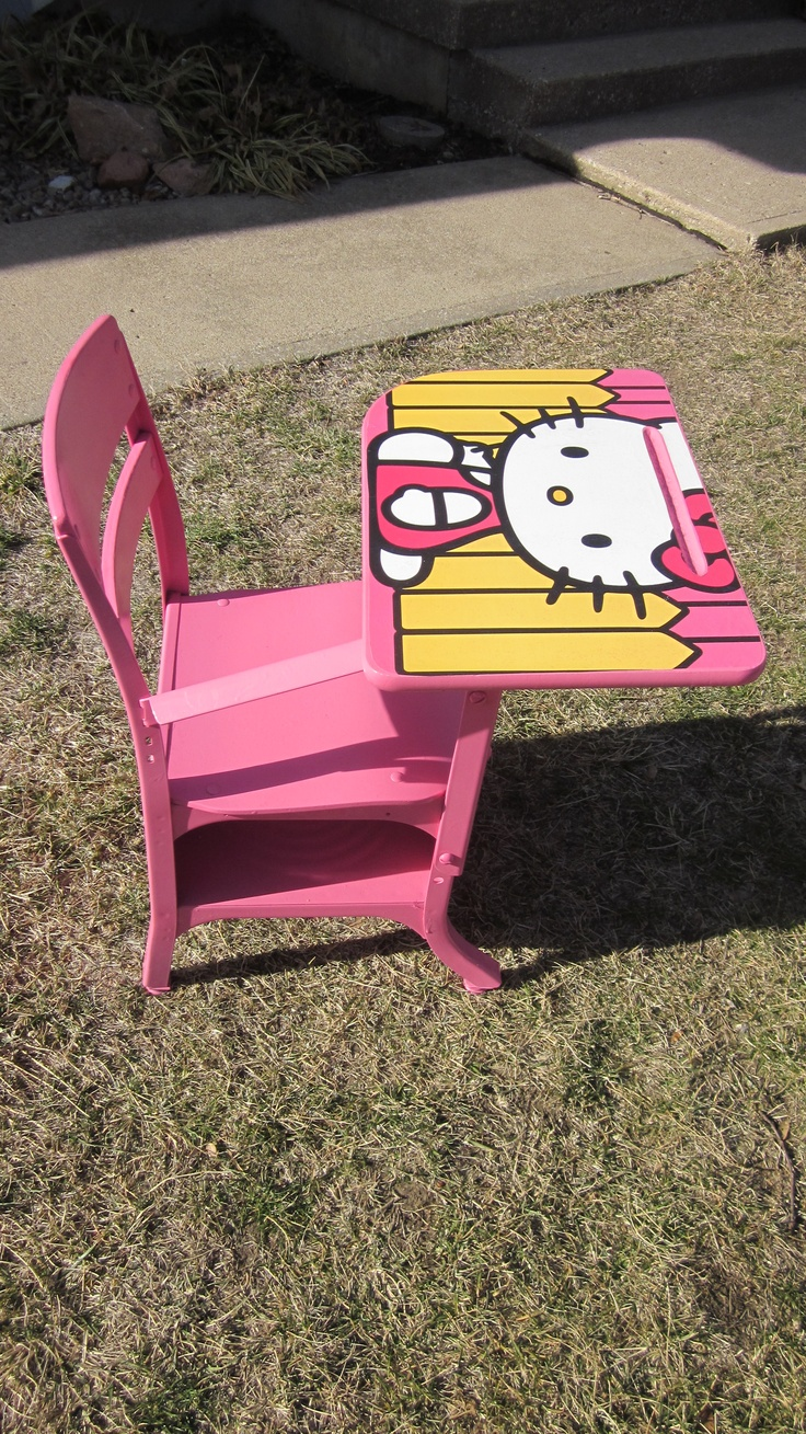 We had an old grade school desk that I took apart, spray painted and then cut a Hello Kitty poster to fit the top.  I used mod podge to adhere it to the desktop. It was a gift for my granddaughter Hailey