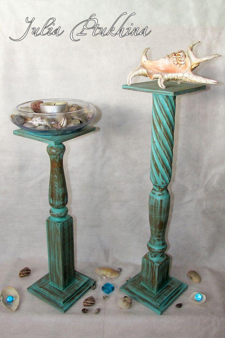 wooden candle holders Деревянные подсвечники (подставки для декоративных композиций) Высота: 51 см, 41,5. Устойчивые, размер основания и верхней площадки 12 Х 12 см. Ручная работа.  В НАЛИЧИИ