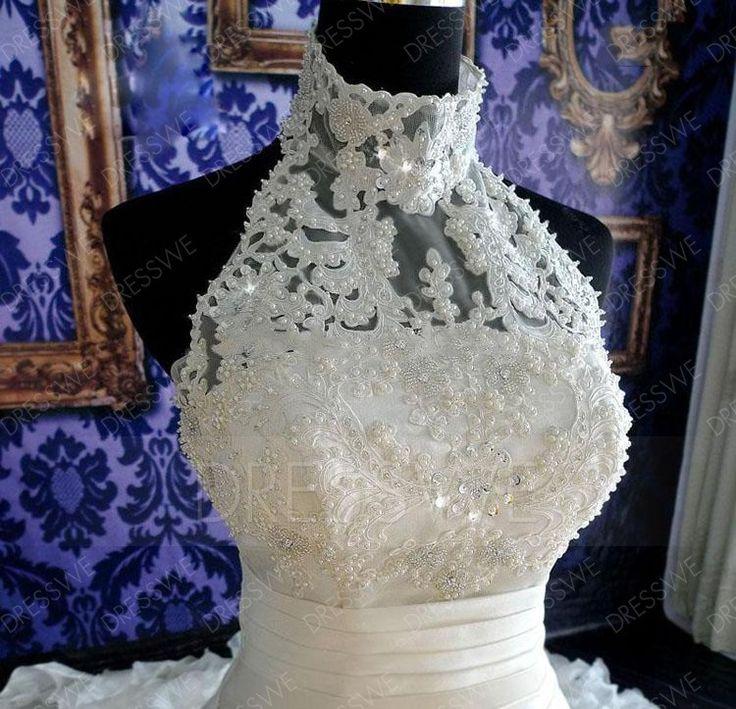 SUMINISTROS Dresswe.comvestido de boda del tren de la capilla de la perla de cuello alto con encanto Vestidos de boda ball gown  (5)