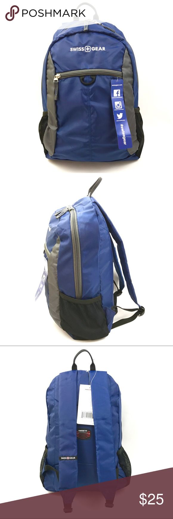 Swiss Gear Backpack New Blue Lightweight Black Full Zipper Inside Compartment Organizer Divider Padded Strap Water Bottle Mesh Adjustable Strap Height: 17 inches Length: 12 inches Depth: 5.5 inches also available in black SwissGear Bags Backpacks