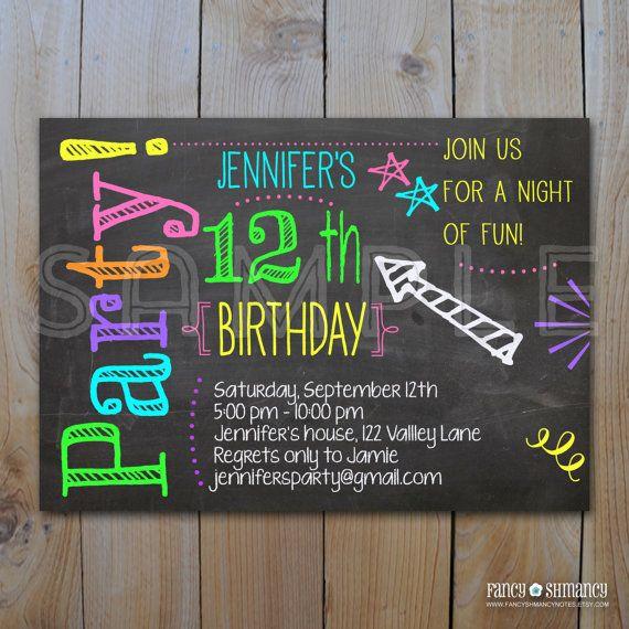 Birthday Invitation / Chalkboard Invitation / Neon Colors Invitation / DIY Printable PDF / 9226