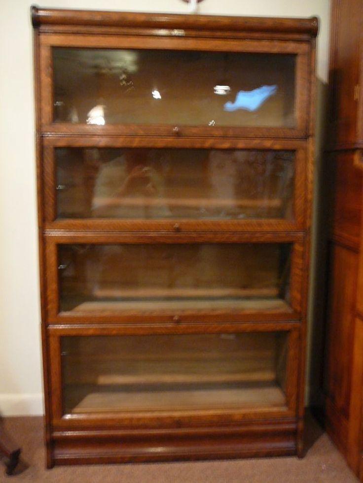 S10 Antique Lundstrom Oak Barrister Lawyer 4 Stack