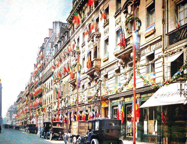 Autochrome of Rue de la Paix, Paris - July 13th 1919 - by Auguste Léon - paris1914.com