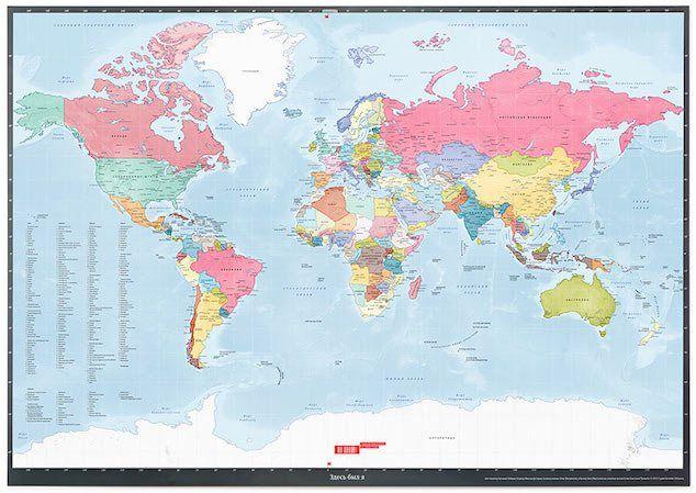 Mapa do mundo no qual você raspa os países que já visitou