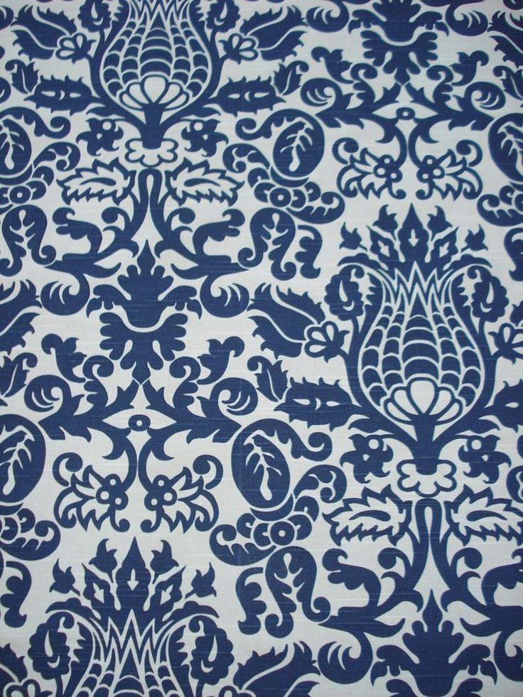 amsterdam snorkel navy indigo blue lt cream floral damask print fabric 225 yds