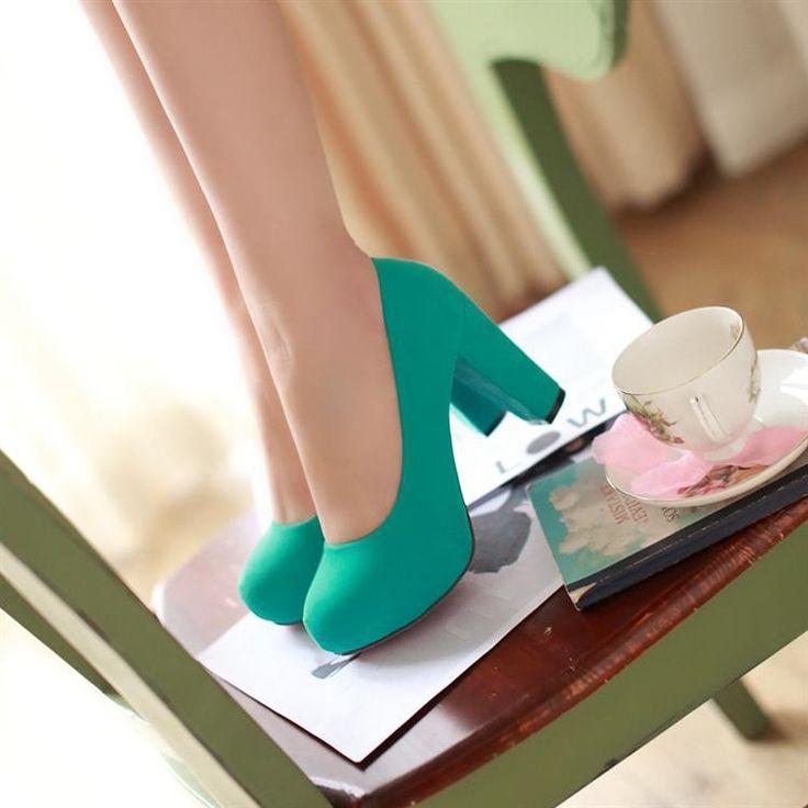 Zapatos Tacon Azul Turquesa