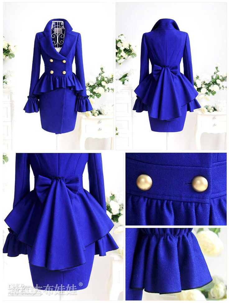 Wholesale 2012 autumn and winter navy blue elegant turn-down collar ruffle pleated wool coat women outerwear, Free shipping, $190.73-205.83/Piece | DHgate