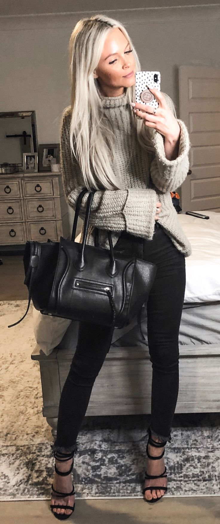 gray knitted sweater #spring #outfits
