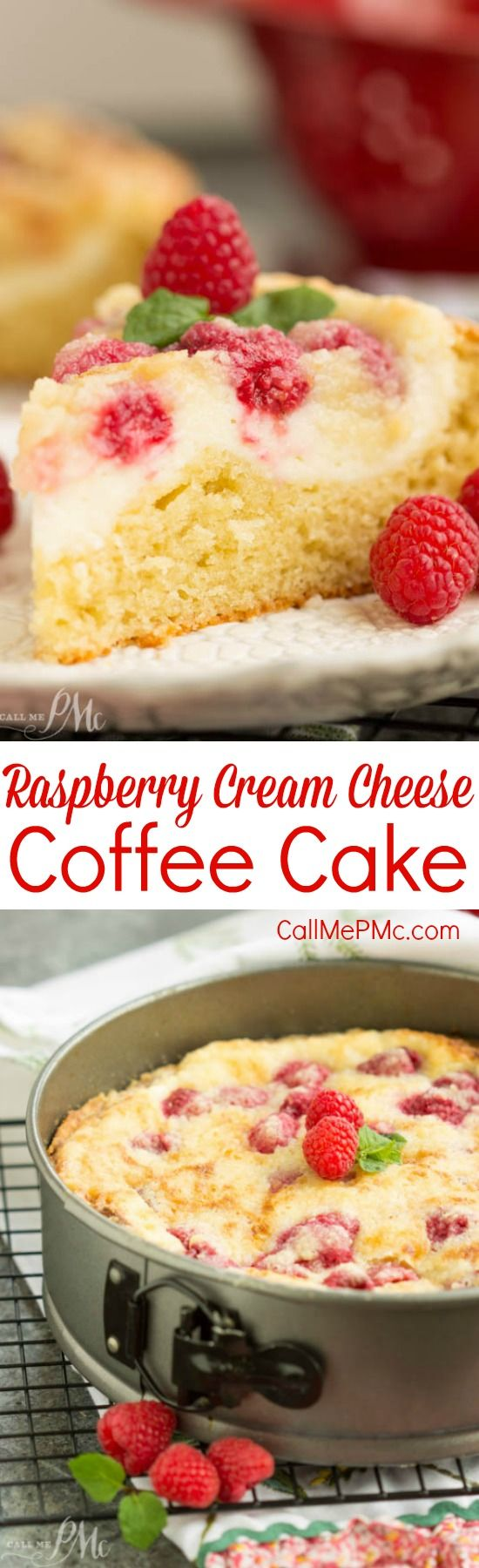 Raspberry Streusel Cream Cheese Coffee Cake is moist and tender with a ribbon of cream cheese and fresh raspberries running through it