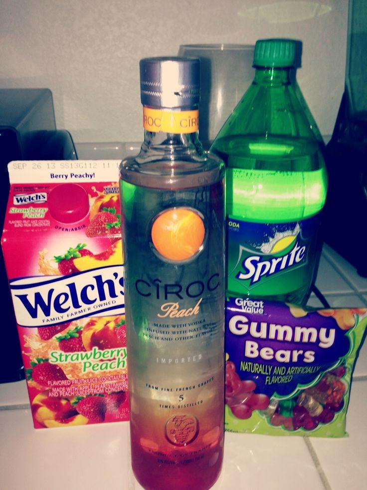 Peach Cîroc, Sprite, Welch's strawberry peach juice, and gummy bears.