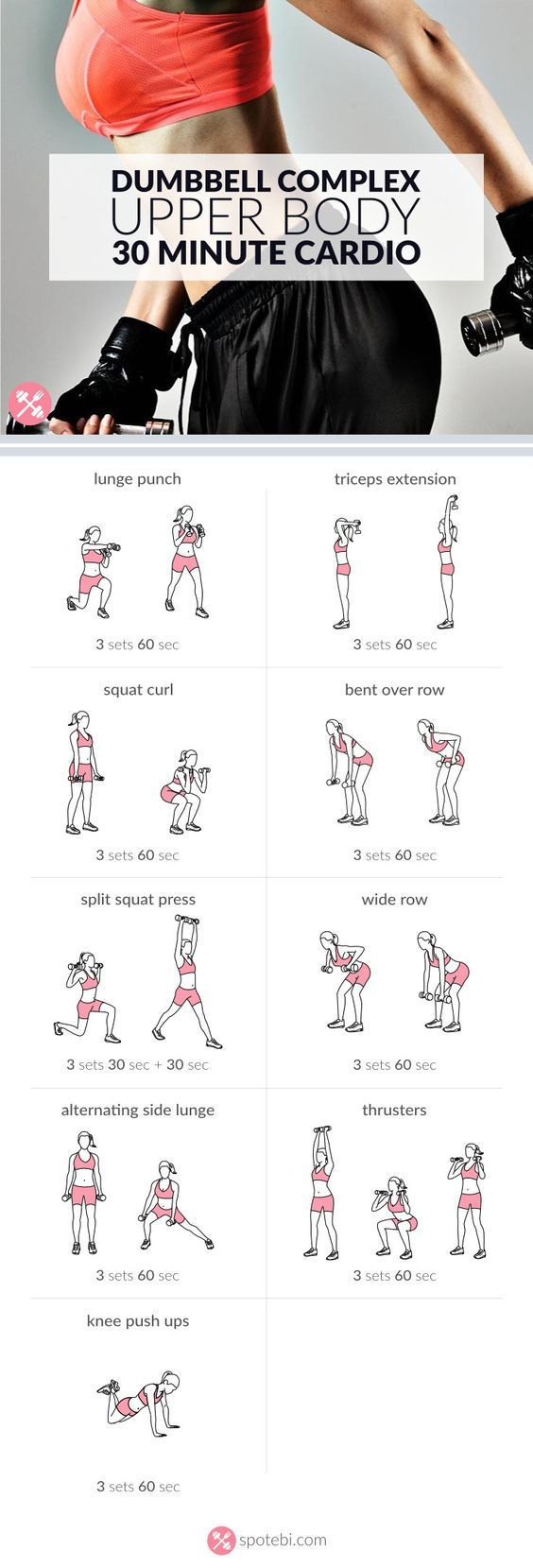 Quickly transform your upper body with this 30 minute cardio routine for women. A dumbbell workout to tone and tighten your arms, chest, back and shoulders. http://www.spotebi.com/workout-routines/30-minute-cardio-upper-body-dumbbell-workout/: