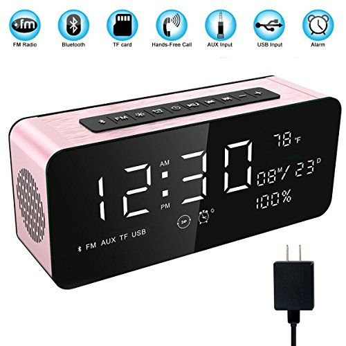Soundance 12W Wireless Radio Alarm Clock Bluetooth Speaker with HD Sound Digital 9.4 LED Display of Time/Date/Temperature iPhone Android Aux MicroSD USB Support Model A10 Rose with Wall Charger