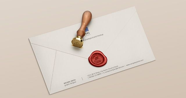 This is a very elegant and realistic wooden psd wax seal stamp with a wax sealed envelope mockup. A very distinctive way to showcase your brand image.