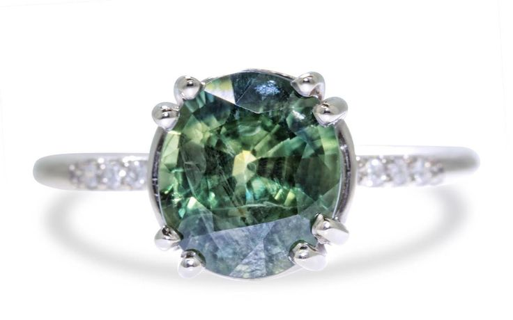 2.80 Carat Blue/Green Sapphire Ring in White Gold - CHINCHAR•MALONEY