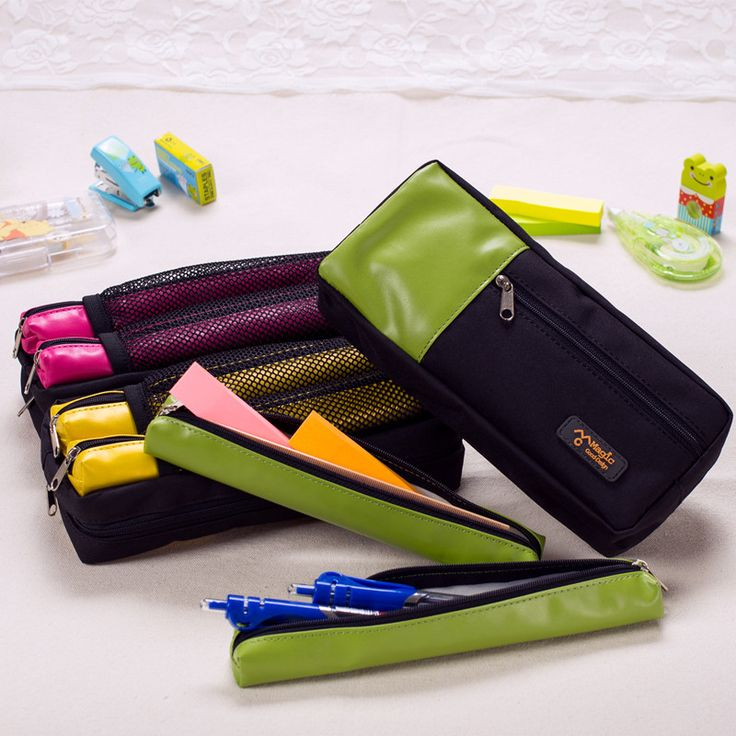 Korea Stationery big pencil case with 2 pen bag leather +nylon pencil case large zippers office and school supplies