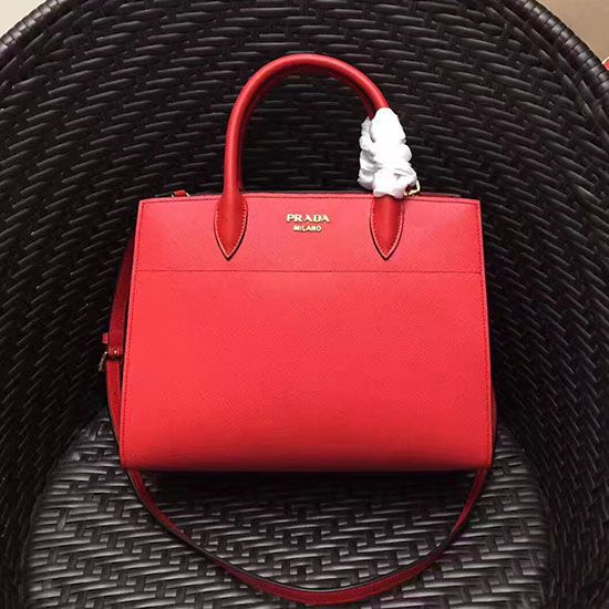 12bbe2750c85 Prada Small Bibliotheque Saffiano Leather Bag Red 1BA050