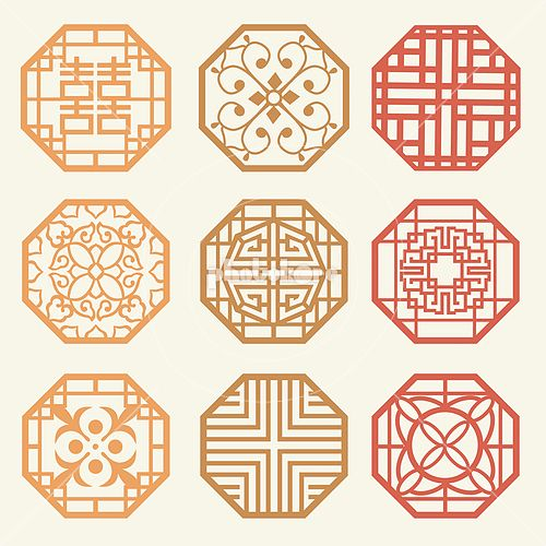 Korean old of Window Frame Symbol sets. Korean traditional Pattern is a Pattern Design.