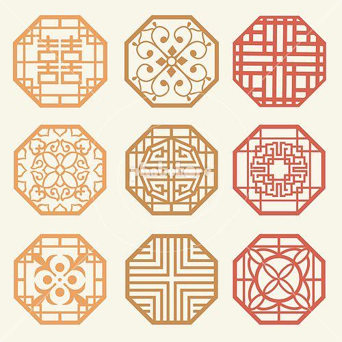 Korean old of Window Frame Symbol sets. Korean traditional Pattern is a Pattern Design.