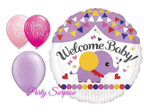 Baby Girl Elephant Balloon Package Baby Girl Balloons Elephant
