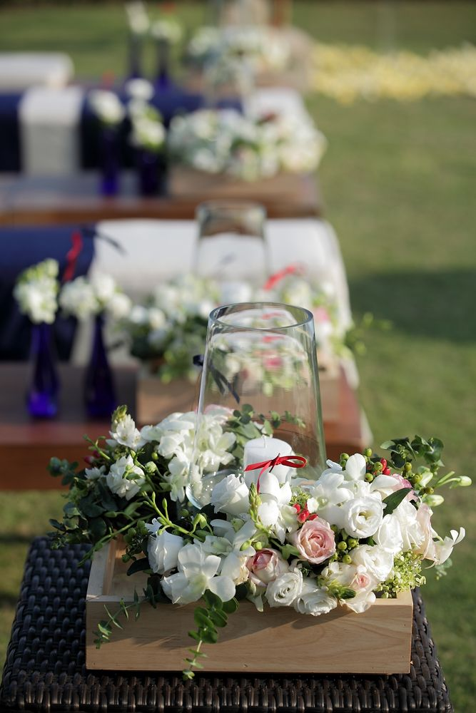 White Rose & Lisianthus, Ornithgalum and Pink Rose with Red Hypricum accent - in the wooden boxes by Tirtha Bridal Uluwatu Bali