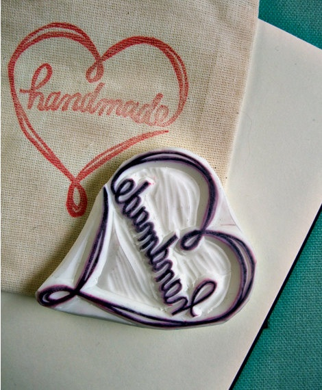 HANDMADE with a love heart  hand carved rubber by talktothesun, $22.00