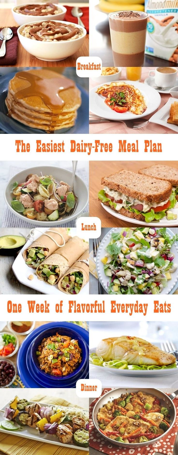 The Easiest Dairy-Free Meal Plan - A week-long menu of simple, naturally dairy-free eats for all! Gluten-free optional.