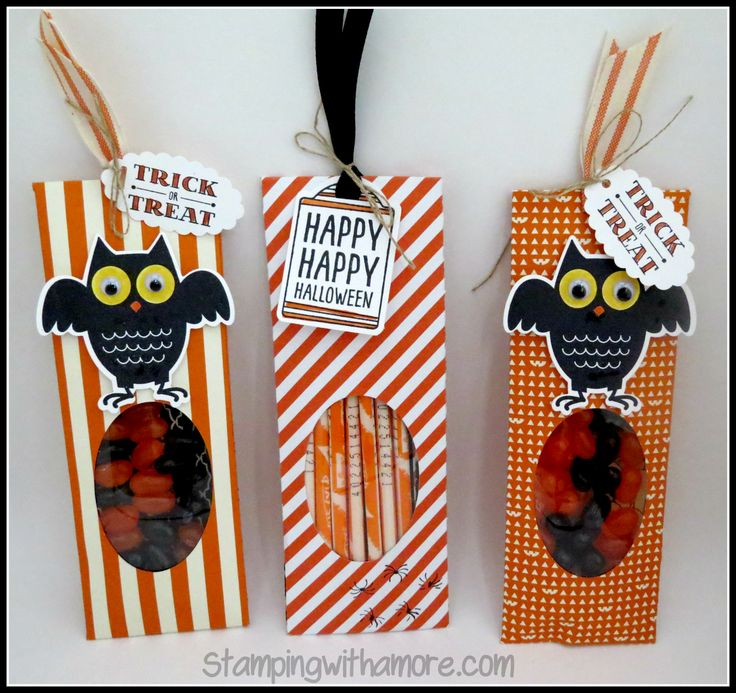 Halloween Treat Pouch using Stampin'Up  Http:// www.stampingwithamore.com for more papercrafting ideas.