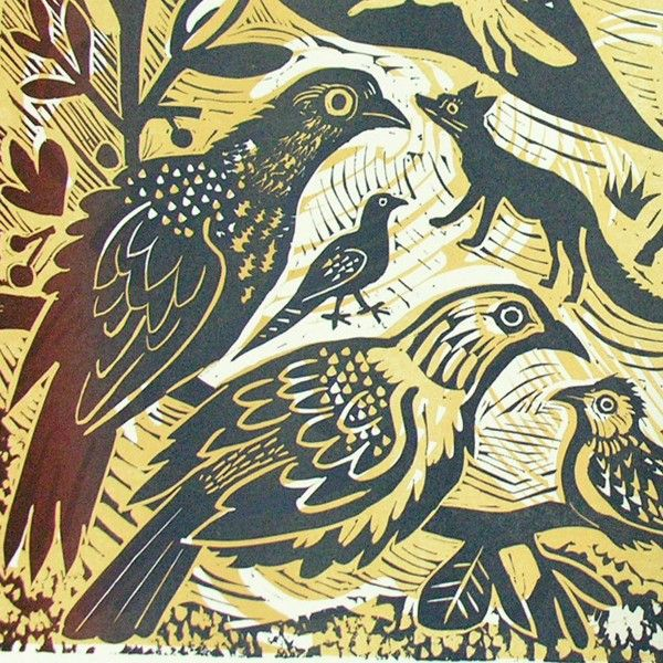 """Fauna"" (detail) linocut by Mark Hearld. Editioned at Tilleys Letterpress"