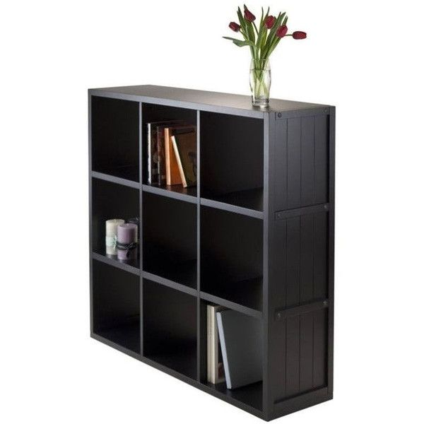 Winsome Timothy 3x3 Shelf with Wainscoting Panel ($149) ❤ liked on Polyvore featuring black wood shelves, wooden shelves, wooden shelving units, wood shelves and black book case