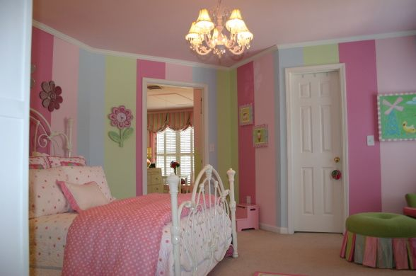 Little girls paradise!, This is my daughter's bedroom, playroom and bathroom.  I stripe matched the walls to the silk drapes.  It's a pink and green paradise, Girls' Rooms Design