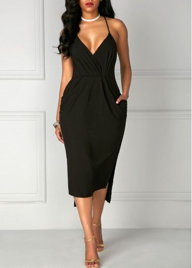 Black Spaghetti Strap Deep V Neck Side Slit Midi Dress