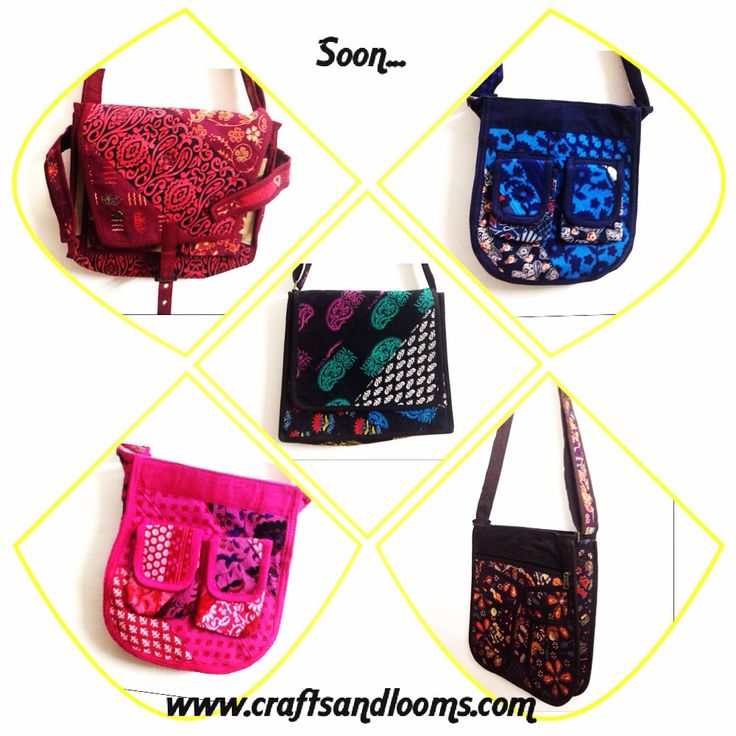 Colourful Cotton Tote Bags , Laptop Bags , Slings. Good quality, water proof and very trendy. Carry your laptop to college or office in this trendy handbag or just add that sling bag to your evening walk. Multi utility bags. Instock - to go live soon on our online store : www.craftsandlooms.com