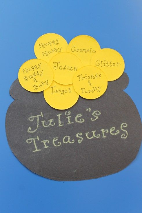 St. Patrick's Day Bulletin Board | Each child fills a pot of gold with names of things they treasure.