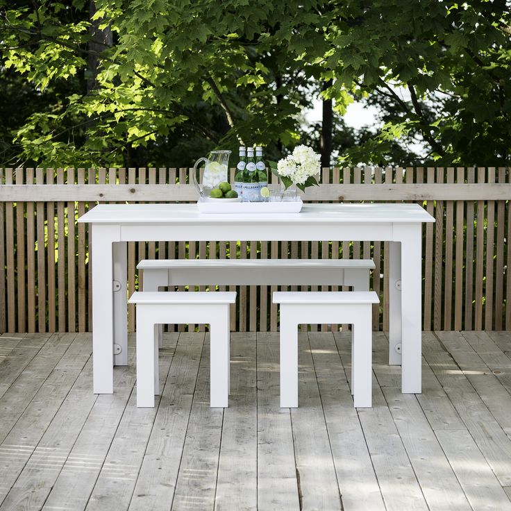 Fresh Air all weather outdoor dining table and stools made from 100% recycled milk bottles - durable, high quality all weather garden furniture by Loll Designs