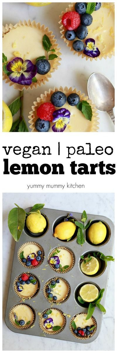 These vegan and paleo lemon tartlets are so good! They are like a combination of vegan lemon cheesecake and vegan lemon bars. The crust is almond and coconut. They are easy to make in the blender and so beautiful for Mother's Day or any spring or summer dessert.