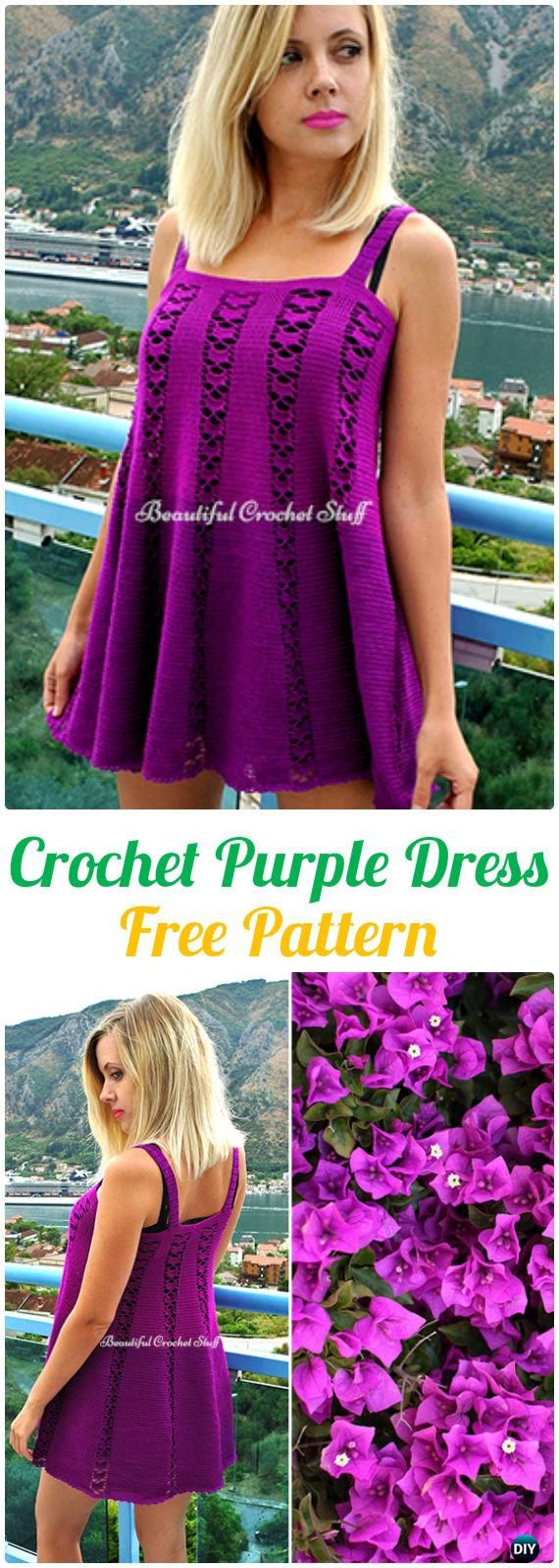Crochet Purple Dress Free Pattern - Crochet Women Dress Free Patterns